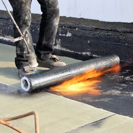 Single ply flat roof worker