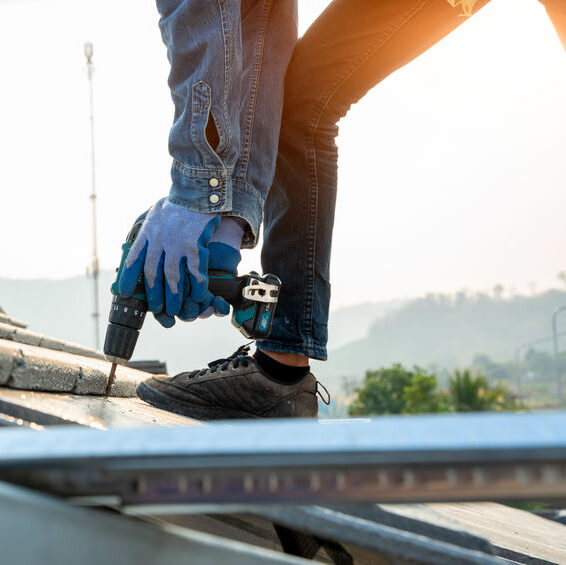 Roofers working on commercial property